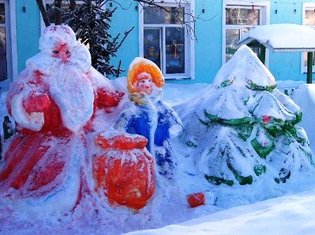 Фото дед мороз и снегурочка из снега своими руками